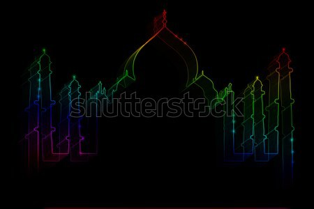 Neon sziluett Taj Mahal fekete égbolt szeretet Stock fotó © Natali_Brill