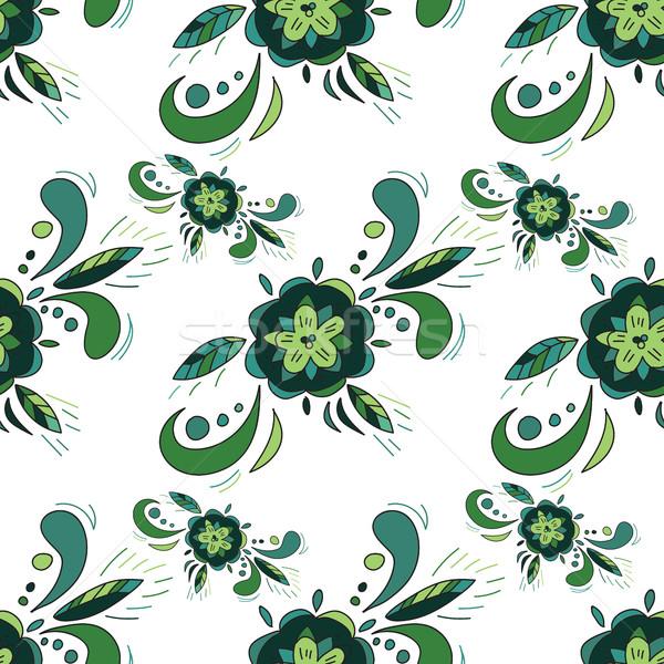 フローラル シームレス 緑 ベクトル テクスチャ 花 ストックフォト © Natali_Brill