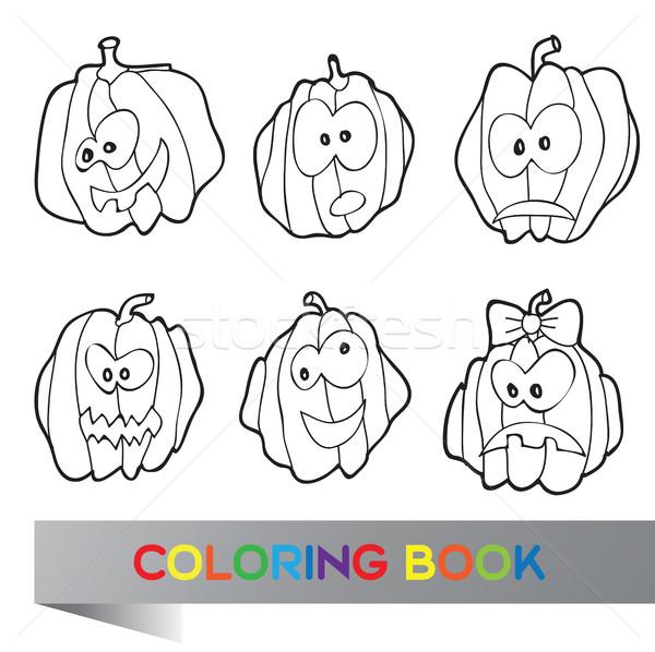 Halloween livro para colorir abóboras textura festa projeto Foto stock © Natali_Brill