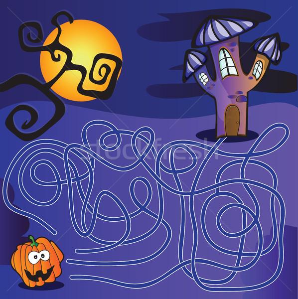 Zdjęcia stock: Labirynt · dzieci · halloween · rozwiązanie · domu · sztuki