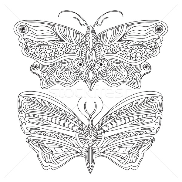Papillon vecteur blanc noir Creative main livre Photo stock © Natali_Brill