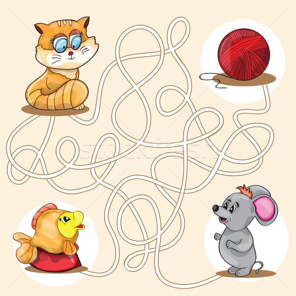 Cartoon educación laberinto laberinto juego Foto stock © Natali_Brill