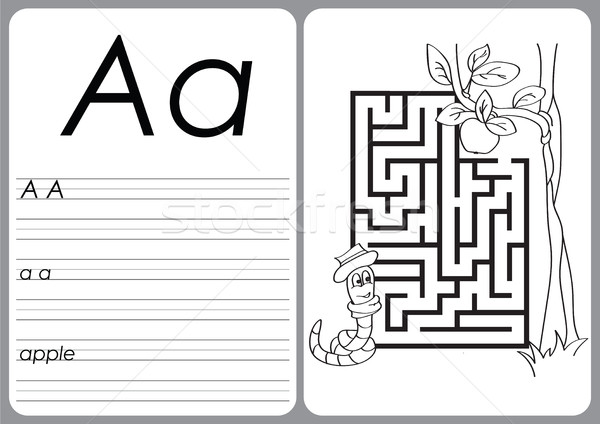 Alphabet A-Z - puzzle Worksheet - Coloring book Stock photo © Natali_Brill
