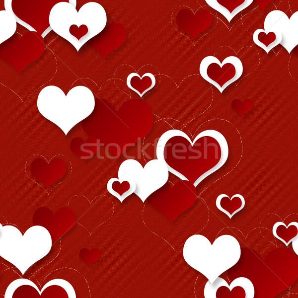 Stock fotó: Fényes · piros · ünnepi · végtelenített · szívek · számítógép