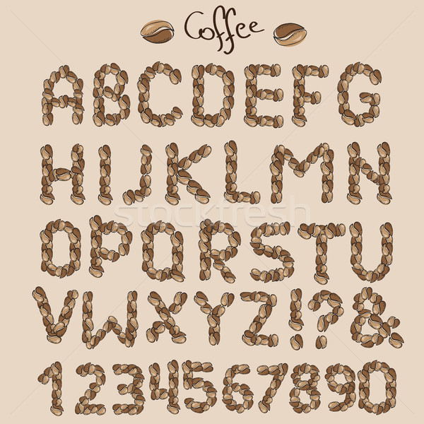 Levelek kávé magvak háttér étterem felirat Stock fotó © Natali_Brill