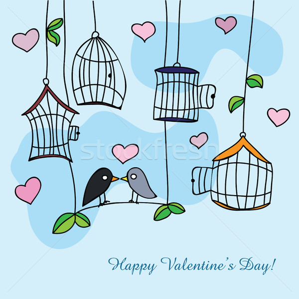 St. Valentine's day greeting card with birds Stock photo © Natali_Brill