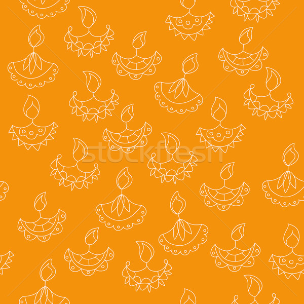 Stock photo: Vector hand drawn seamless pattern with Diwali symbols. holiday background