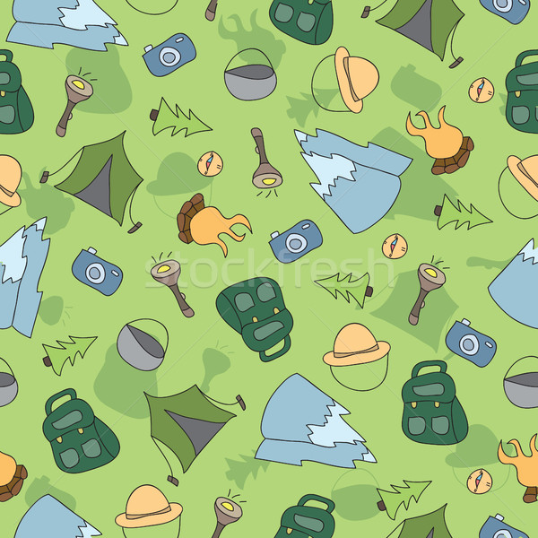 Stock photo: Vector seamless pattern of Camping Elements
