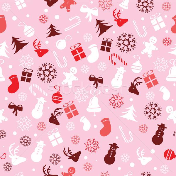 Christmas naadloos inpakpapier patroon groot Stockfoto © Natali_Brill