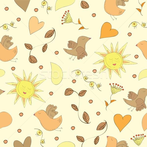 春 セット 花 太陽 鳥 ストックフォト © Natali_Brill