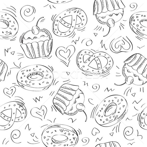Seamless vector pattern cakes Stock photo © Natali_Brill