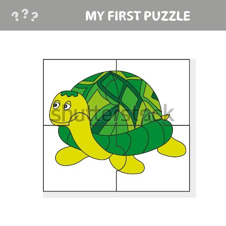 Happy little cartoon turtle smiling vector Stock photo © Natali_Brill