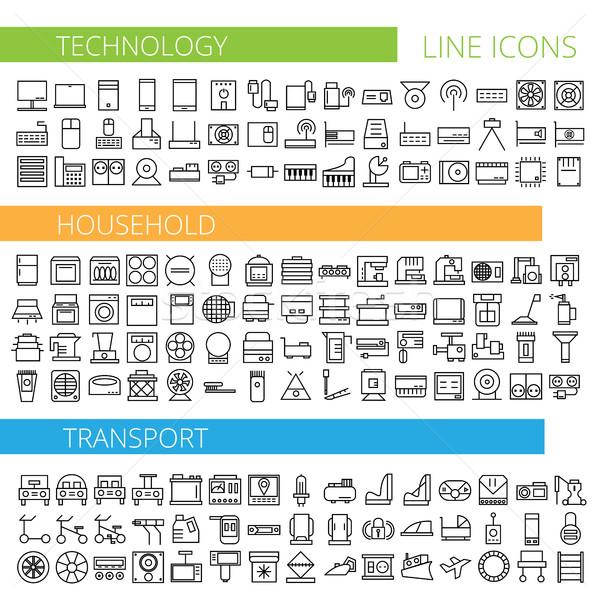 Foto stock: Fino · linha · ícones · tecnologia · casa · transporte