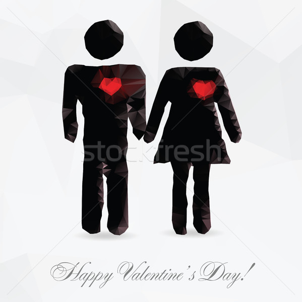 Polygone couple amour carte vacances mariage Photo stock © Natali_Brill