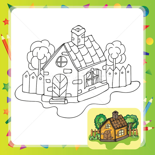 Stylisé campagne maison jardin livre de coloriage printemps Photo stock © Natali_Brill
