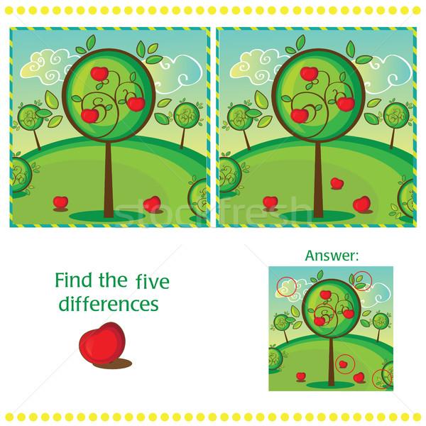 Bulmak farklılıklar iki elma ağacı çocuklar Stok fotoğraf © Natali_Brill