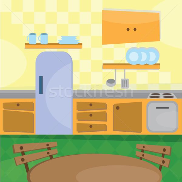 Kitchen interior and cooking utensils Stock photo © Natali_Brill