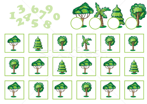 Counting Game for Children with trees Stock photo © Natali_Brill