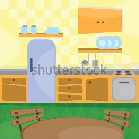 Keuken interieur puzzel gesneden onderdelen foto voedsel Stockfoto © Natali_Brill