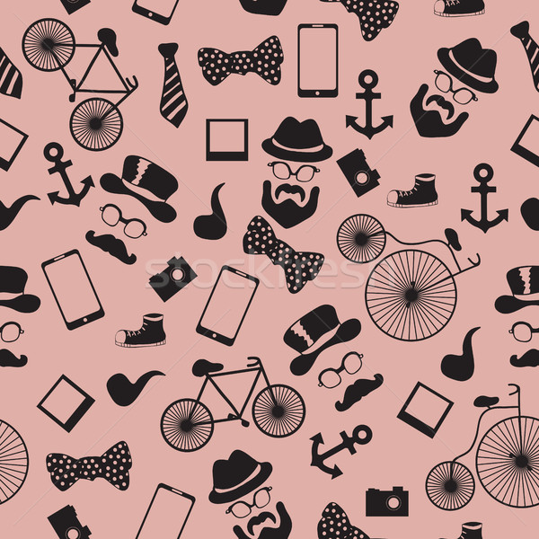 Seamless vector pattern in hipster style Stock photo © Natali_Brill
