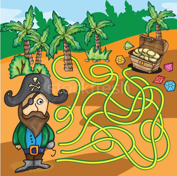 Vector Maze Game - Pirate Try to Find Treasure Box  Stock photo © Natali_Brill