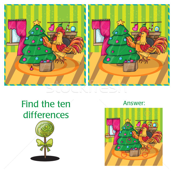 Cartoon Vector Illustration of Finding Differences for Preschool Children Stock photo © Natali_Brill