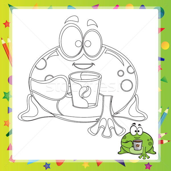 Stock fotó: Illusztráció · rajz · béka · kifestőkönyv · mosoly · könyv