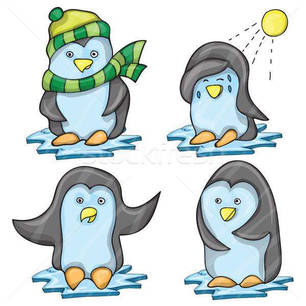 Pinguim vários vetor desenho animado conjunto engraçado Foto stock © Natali_Brill