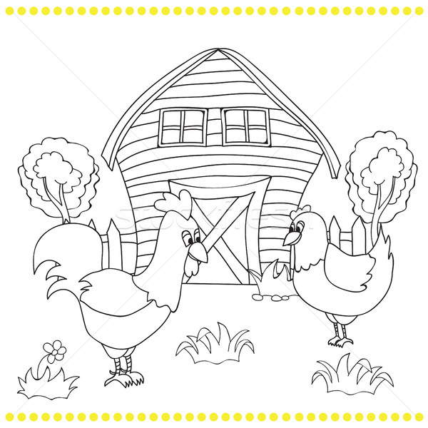 Rooster and chickens on the bacgroung of rural landscape  Stock photo © Natali_Brill