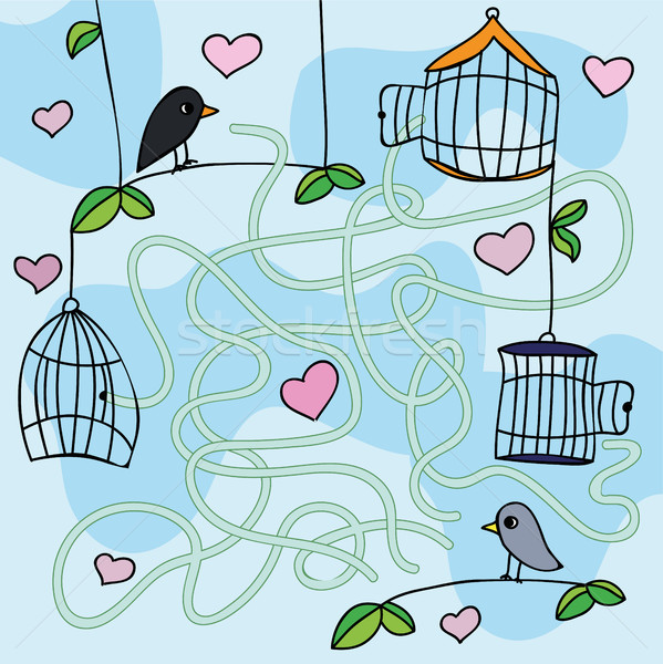 Maze game -Vector illustration with funny birds Stock photo © Natali_Brill