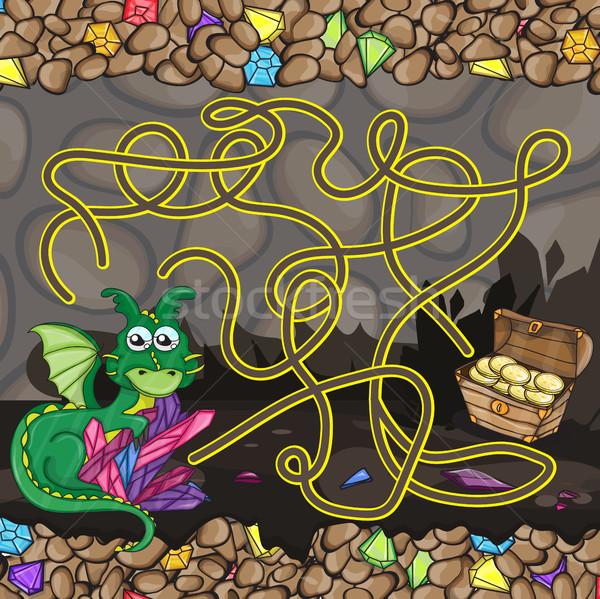 Maze game template with dragon Stock photo © Natali_Brill