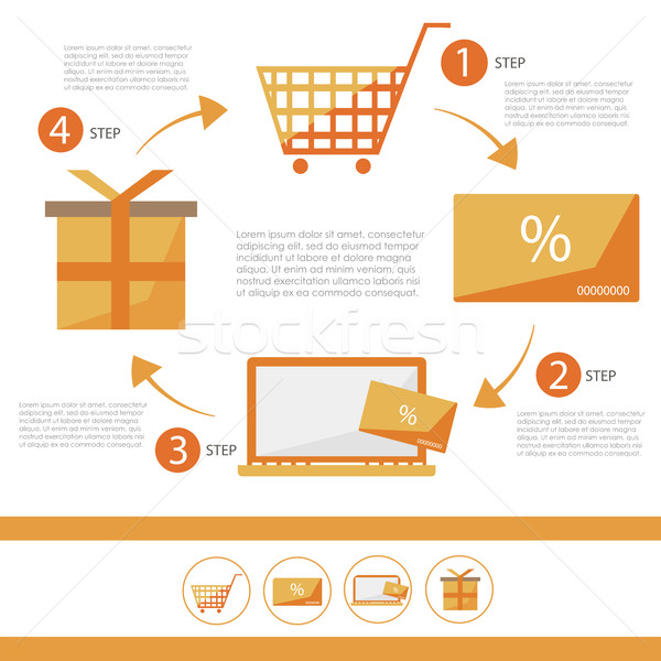 Foto d'archivio: Ecommerce · infografica · set · sconto · carta · shop