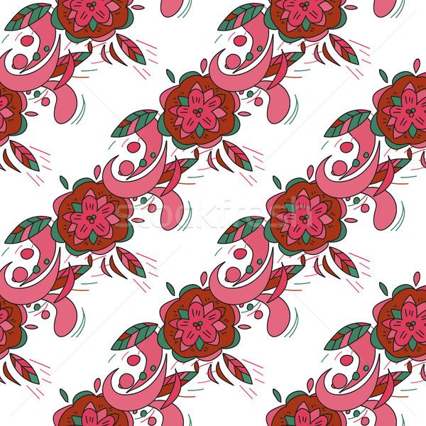 Foto stock: Floral · sem · costura · rosa · vetor · textura · flor