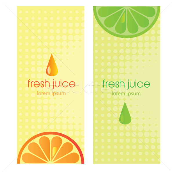 Banners with stylized citrus fruit and splashes Stock photo © Natali_Brill