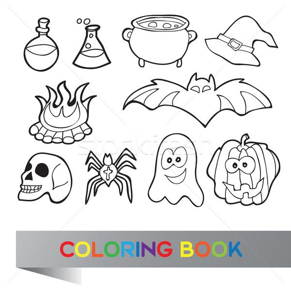 Livro Para Colorir Halloween Livro Pedra Preto