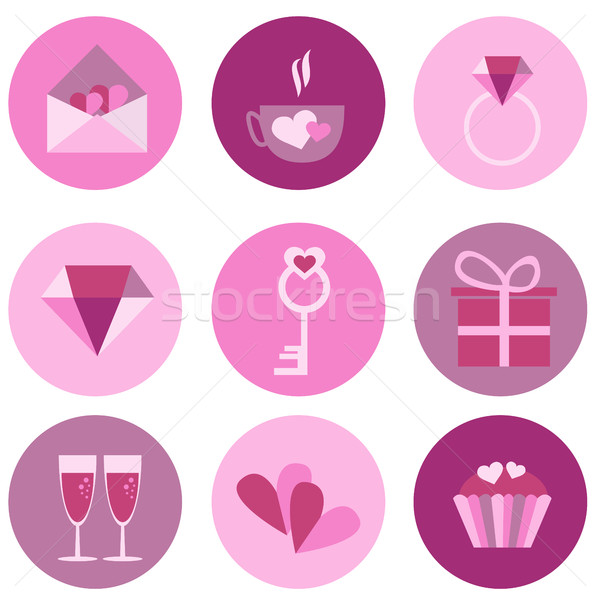 Stock photo: set of icons for Valentines day, Mothers day, wedding