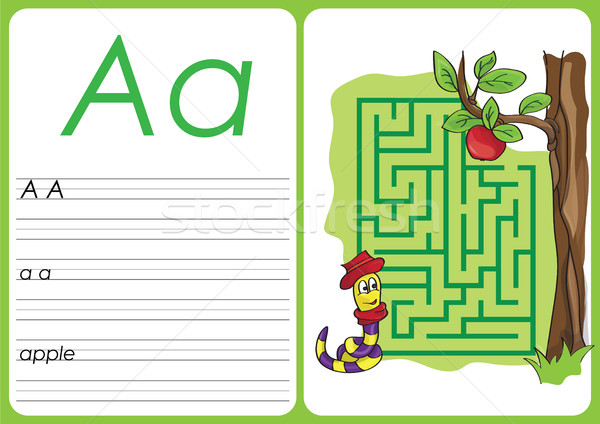 Alphabet A-Z - puzzle Worksheet - a - apple Stock photo © Natali_Brill