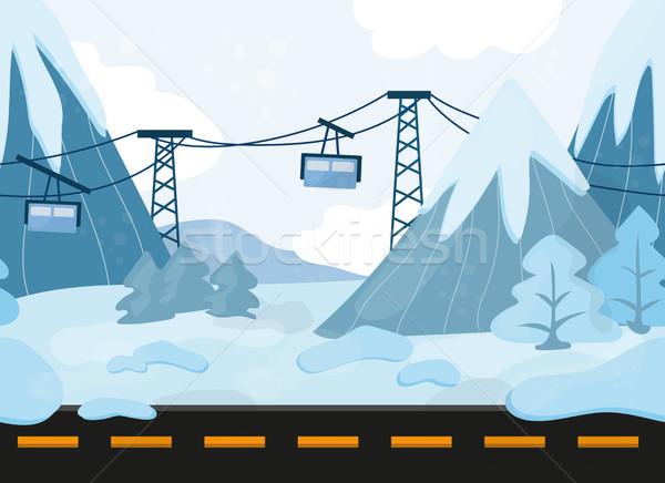 シームレス 漫画 風景 ベクトル 山 丘 ストックフォト © Natali_Brill