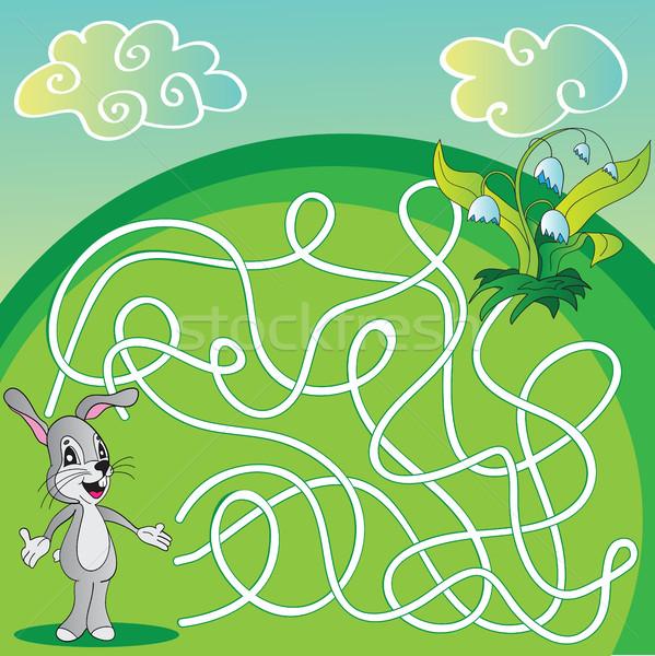 вектора лабиринт лабиринт игры детей заяц Сток-фото © Natali_Brill
