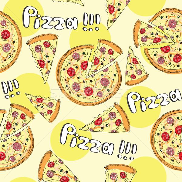 Rabisco estilo pizza sem costura vetor Foto stock © Natali_Brill