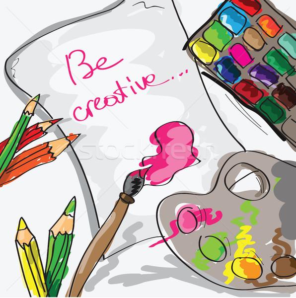 paper, pencils and paints - hand drawn vector illustration Stock photo © Natali_Brill