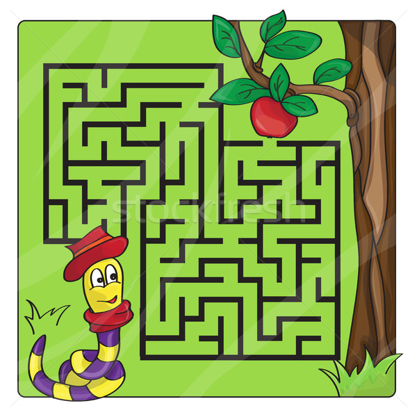 Labyrinth, maze for kids. Entry and exit - Help the worm to crawl to apple Stock photo © Natali_Brill