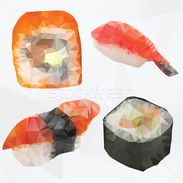 Set of sushi - polygonal vector Stock photo © Natali_Brill