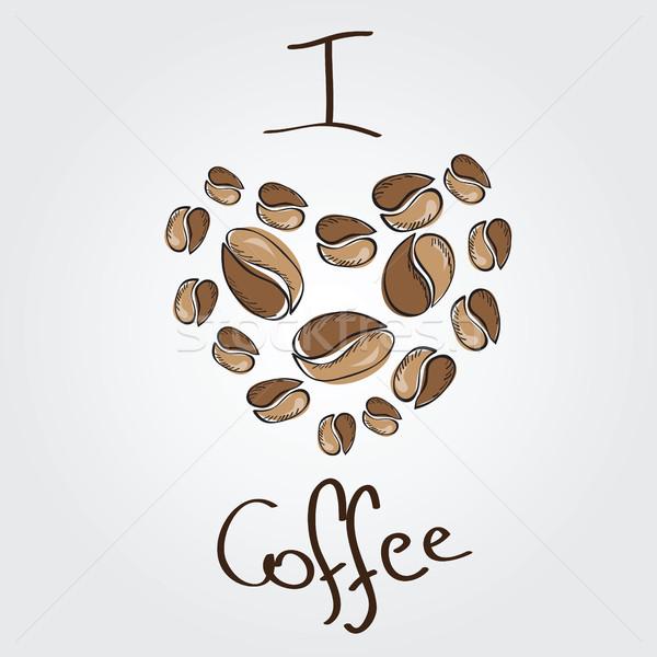 Amor café grãos de café coração papel comida Foto stock © Natali_Brill