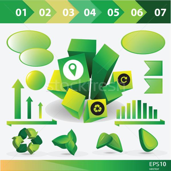Ökologie info Grafiken Sammlung Vektor Elemente Stock foto © Natali_Brill