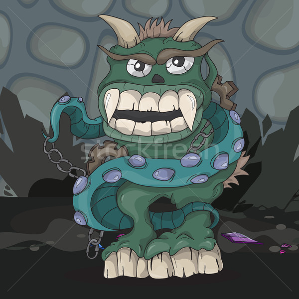 怒っ 漫画 モンスター 暗い 地下 笑顔 ストックフォト © Natali_Brill