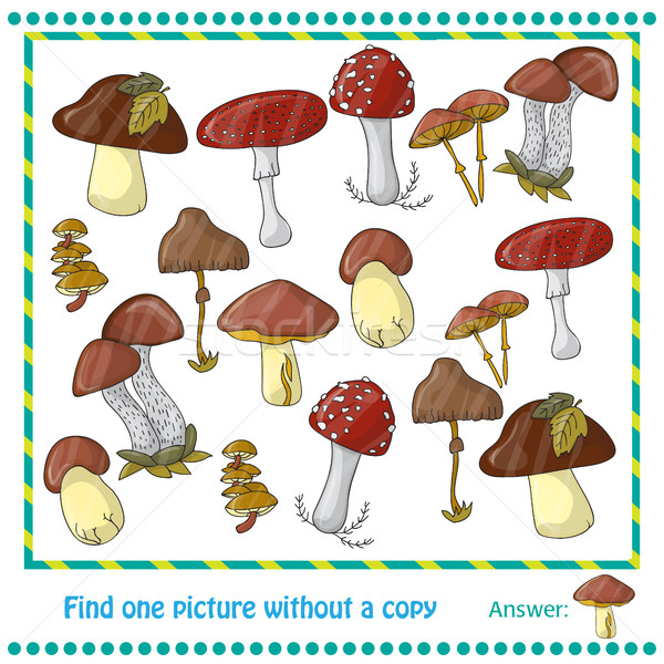 Ilustração cor cogumelos jogo crianças floresta Foto stock © Natali_Brill