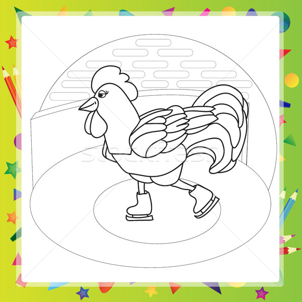 Stock photo: Rooster bird skate on skating ring - coloring book