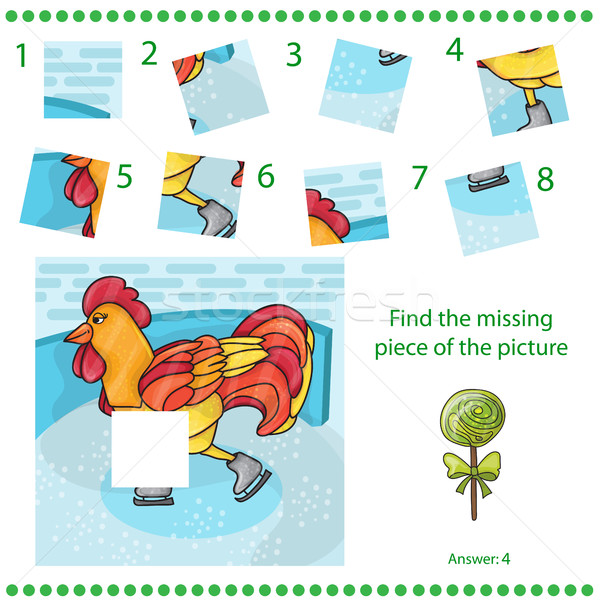 Find missing piece - Puzzle game Rooster Stock photo © Natali_Brill