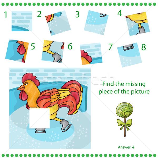 Trovare mancante pezzo puzzle gioco gallo Foto d'archivio © Natali_Brill